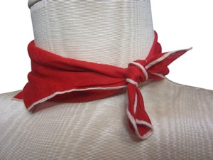 Bright Red Handkerchief with White Stitched Outline Detail