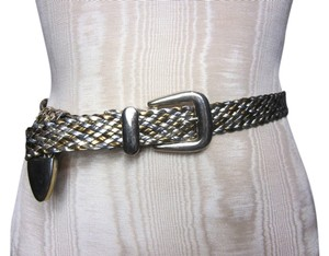 Other Multicolor Woven Bronze and Gold-tone Belt with Gold Buckle and Tip