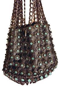 Kenny Ma (San Francisco) Pouch Vintage New Without Tags Evening Raindrop Fairytale Coach Ride Filigree Crystal Blue Stamped Metal Chain Bronze Wristlet in Aqua Silver Gray
