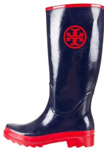 Tory Burch Navy Logo Monogram Rubber Rain Tall Rain Print 9 Blue, Red Boots