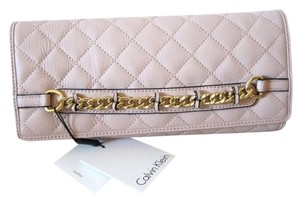 Calvin Klein Quilted Leather Ck Party Pink Clutch