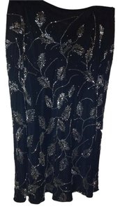 Dana Buchman 100% Sik Beaded Skirt Black