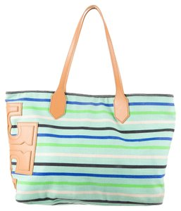 Tory Burch Multicolor Canvas Brown Beige Leather Print Striped Reva Logo Monogram Embellished Oversized Tote in Green, Blue, White