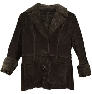 Guess Leather Shearling Suede Brown Leather Jacket