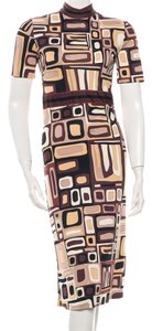 Emilio Pucci Beige Brown Shortsleeve Dress