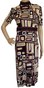 Emilio Pucci Turtleneck Belted Longsleeve Monogram Print Dress