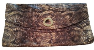 Adrienne Vittadini Python Yellow Black and gold Clutch