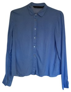 Zara Polka Dot Soft Lightweight Peter Pan Peter Pan Collar Button Down Shirt blue