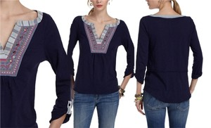 Anthropologie Top Navy Blue