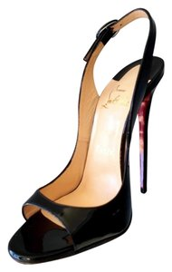 Christian Louboutin Red Bottom 130mm 5inches Slingback Patent Leather Size 37 Black Pumps