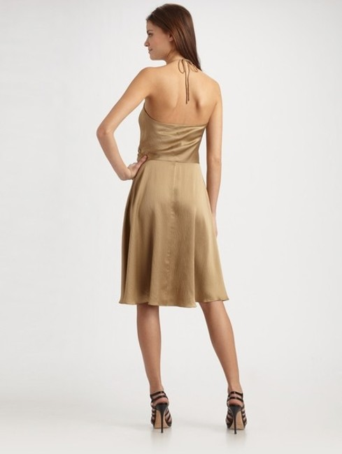Halston Hammered Silk Ruffle Halter Dress