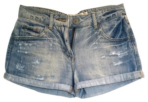 Zara Low Rise Ripped Shorts Petite Rolled Cuffs Denim Shorts-Light Wash