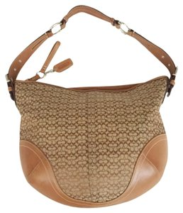 Coach Leather Jacquard Signature Hobo Bag