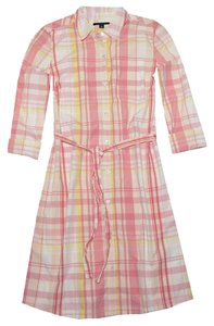 Tommy Hilfiger short dress Light Pink/Yellow/Multi Plaid Belted on Tradesy