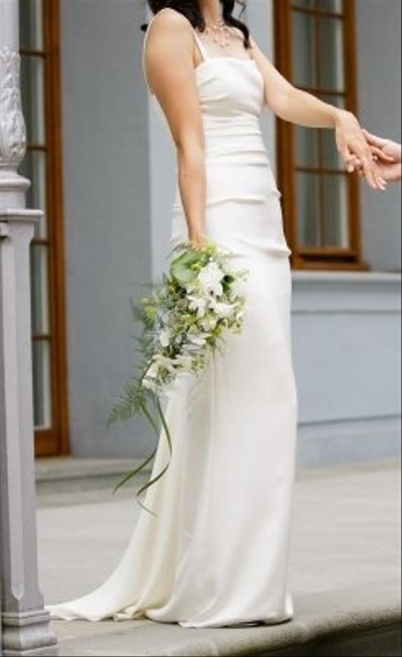 Nicole miller dg0022 silk strapless pintucked with added for Nicole miller strapless wedding dress