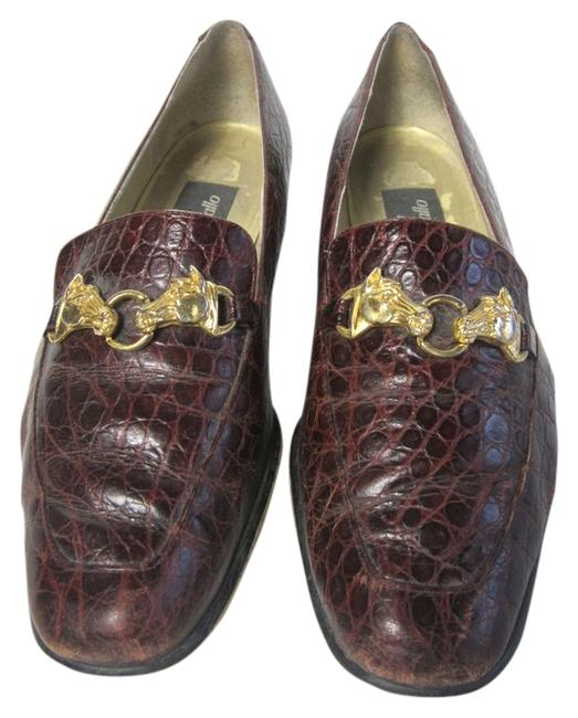 Item - Red W Stamped Leather Stacked Heel Loafers W/ Goldtone Horse Buckle Flats Size US 8.5