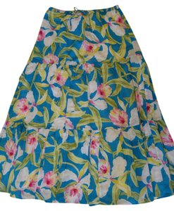 Ralph Lauren Skirt Bright Blue Floral Print
