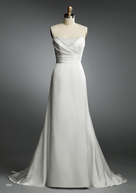 Item - White Satin 2201 Casual Wedding Dress Size 2 (XS)