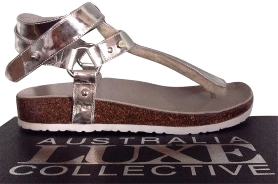 773df50cee9 Australia Luxe Collective Thong Platform Shearling Leather Chica Genuine  Shearling Lined Silver Sandals Image 0 ...