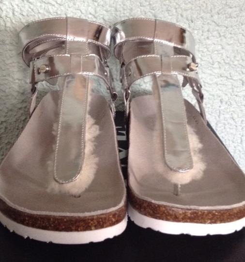 Australia Luxe Collective Thong Platform Shearling Leather Chica Genuine Shearling Lined Silver Sandals