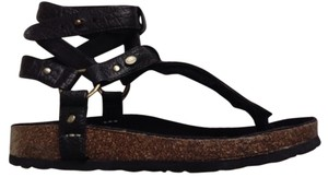 Australia Luxe Collective Chica Genuine Shearling Lined Sandal Shearling Sandal Black Platforms
