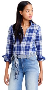 J.Crew Perfect Shirt Classic Boyshirt Blue Crinkle Plaid Button Down Shirt Blue Plaid