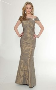 Teri Jon Taupe 6003 Taffeta Ruched Cape Gown Dress