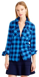 J.Crew Perfect Shirt Classic Boyshirt Buffalo Check Plaid Sea Brilliant Flannel Button Down Shirt Blue