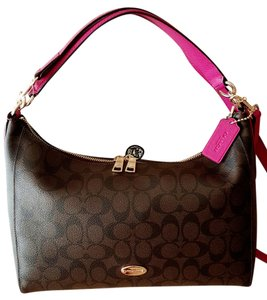 2479b5bf34 Coach Signature East West Celeste Brown Cranberry Leather Hobo Bag ...
