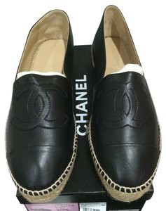 Chanel 2016 Espadrille Espadrille Espadrilles Espadrilles Leather Leather New New Sz Size 42 12 11 11.5 41 41.5 Black Flats