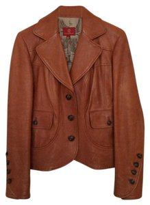 Cole Haan Lambskin Leather Vintage Caramel Leather Jacket
