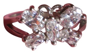 New Butterfly Simulated Diamonds Ring in Stainless Steel (Size 8)