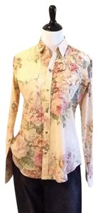 Ralph Lauren Casual Cotton Machine Washable Western Made In Hong Kong Top Pink floral