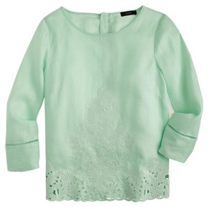 J.Crew Embroidered Linen Floral Spring Mint Spearmint Seafoam Top Mint Green