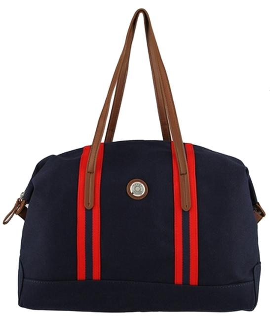 Item - Duffle Gym Overnight Handbag Blue/Red/Brown Canvas Body Synthetic Handels Weekend/Travel Bag