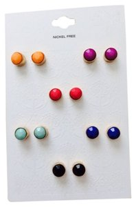 Set Of 6 Pairs Faceted Multi Colored Stud Earrings