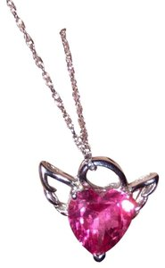 Necklace Pink heart stone Angel on silver chain