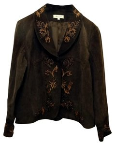 Coldwater Creek Fancy Design Work Suede Leather Brown Leather Jacket
