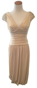 Vera Wang Beige Sequin Gold Dress
