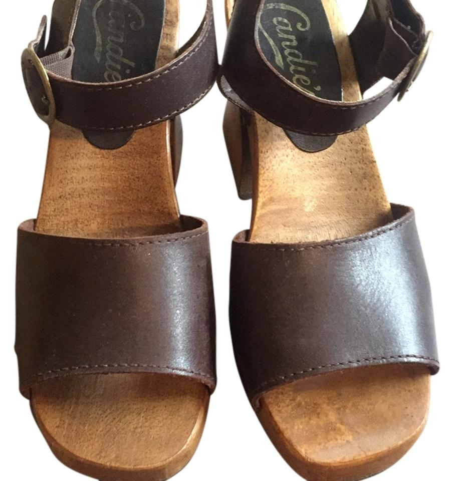 WOMENS WOMENS WOMENS Candie's Brown Leather Mules/Slides bestsell af702b