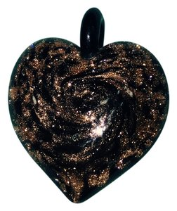 Charm Brown coper glass Heart for A Necklace