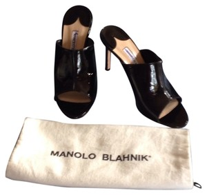 Manolo Blahnik 7 6.5 Mule Black Sandals