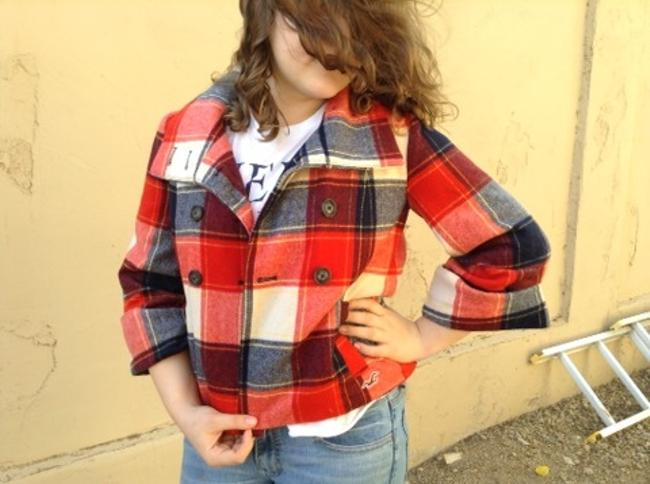 Hollister 3/4 Sleeve Crop Button Front Plaid Jacket