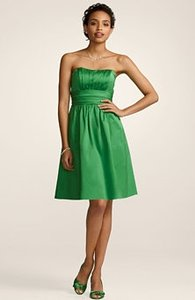 David's Bridal Green Cotton 83312 Sateen Strapless with Ruching and Poc Formal Bridesmaid/Mob Dress Size 4 (S)