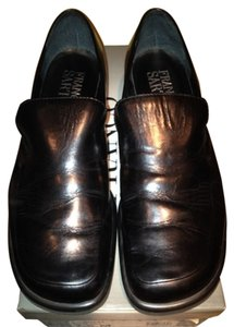 Franco Sarto Vintage Leather Made In Brazil Slip On Black Flats