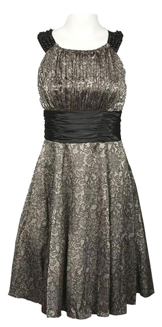 Preload https://img-static.tradesy.com/item/7643089/blacknude-cutaway-floral-print-satin-bead-detail-knee-length-night-out-dress-size-10-m-0-1-650-650.jpg