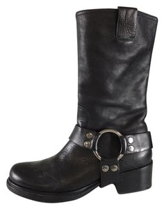 Miu Miu Leather Biker Boot Black Boots
