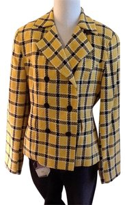 Peter Nygard 40% Rayon 30% Wool 10% Cotton 10% Linen 10% Nylon Yellow black white plaid Blazer