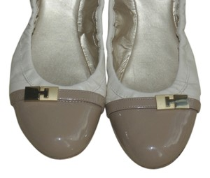Tahari Patent Leather Gold Details White Leather Ballet Cap Toes Tan, White Flats