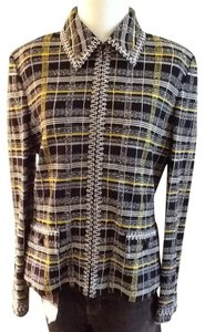 St. John Dry Clean Only Cotton Embroided Made In Usa Black yellow white knit plaid Blazer